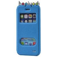 iPhone 5S Kılıf Ekol Gizli Mıknatıslı Çift Pencereli Standlı Mavi
