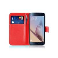 Microsonic Cüzdanlı Deri Samsung Galaxy S6 Edge Kılıf Kırmızı