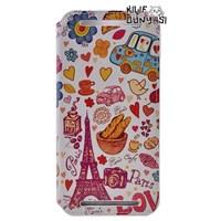 HTC One E8 Kılıf Paris Love Desenli Gizli Mıknatıslı