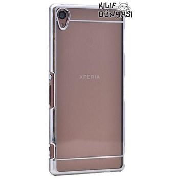 Sony Xperia Z3 Metal Elegance Şeffaf Sert Kapak Gümüş