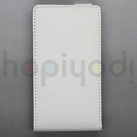 Nokia Lumia 920 Kılıf Beyaz Dik Kapaklı Deri
