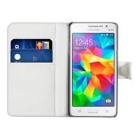 Microsonic Cüzdanlı Deri Samsung Galaxy Grand Prime Kılıf Beyaz