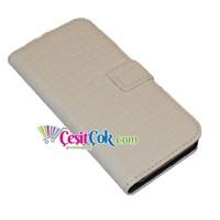 iPhone 5/5S Kılıf Deri Cüzdanlı (Beyaz)