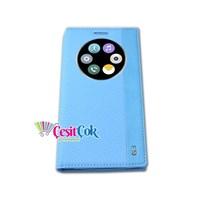 LG G3 Kılıf Quick Circle Gizli Mıknatıslı Mavi