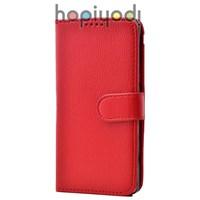 Samsung Galaxy E5 Kılıf Sola Açılan Lüks Cüzdan Kırmızı