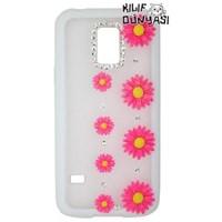 Samsung Galaxy S5 Mini Kılıf Çiçek Motifli Buzlu Kapak Pembe Koyu