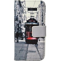 iPhone 5C Kılıf Cüzdan Tramvay Desenli