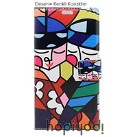 Samsung Galaxy S3 Kılıf BHR Renkli Karakter Desenli Kapaklı Cüzdan
