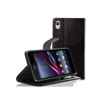 Microsonic Cüzdanlı Standlı Deri Kılıf - Sony Xperia Z2 Siyah