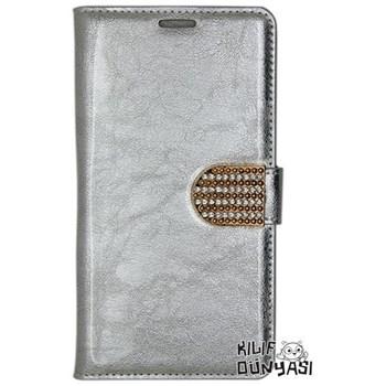 iPhone 6 Kılıf Rugan Taşlı Kopçalı Cüzdan Gümüş