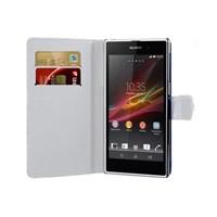 Microsonic Cüzdanlı Deri Kılıf - Sony Xperia Z1 - Beyaz