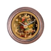 Cadran Dekoratif Vintage Çatlak Desen Duvar Saati Vazo Çiçekler-2 32754449