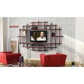 Sanal Mobilya Yeni Nesil Elips Tv Ünitesi & Kitaplık-Parlak Beyaz/Bordo 32066878