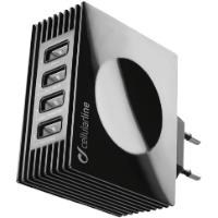 CELLULAR LINE USB Seyahat Şarj Adaptörü 4 Çıkışlı 4.2 A Siyah