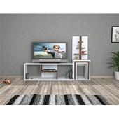 Minar Carina Zigonlu Tv Ünitesi - Beyaz / Ceviz 33801761