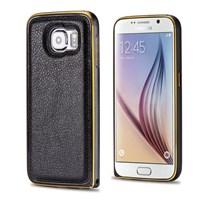 Microsonic Derili Metal Delüx Samsung Galaxy S6 Kılıf Siyah
