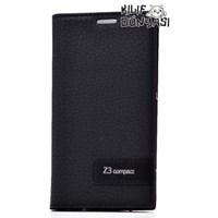 Sony Xperia Z3 Compact Kılıf Safir Deri Gizli Mıknatıslı Siyah