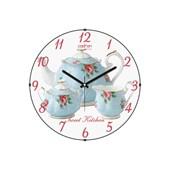 Cadran Luxury Sweet Kitchen Bombeli Cam Duvar Saati Demlikler-2 32754475