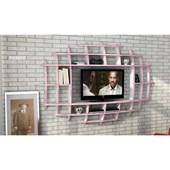 Sanal Mobilya Yeni Nesil Elips Tv Ünitesi & Kitaplık-Parlak Beyaz/Pembe 32067110