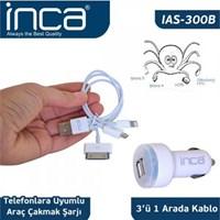 INCA IAS-300 Araç Şarjı 5V/2A-1A(Apple/Samsung/HTC