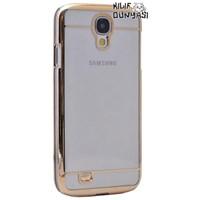 Samsung Galaxy S4 Metal Elegance Şeffaf Sert Kapak Altın