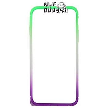 iPhone 6 Kılıf Renkli Silikon Bumper Çerçeve Yeşil-Mor