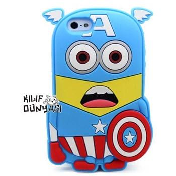 İphone 5s Kılıf Silikon Süper Kahramanlar 3d Captan America
