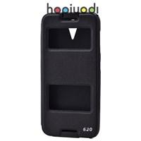 HTC Desire 620 Kılıf Ekol Gizli Mıknatıslı Standlı Siyah
