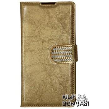 Sony Xperia Z2 Kılıf Rugan Taşlı Deri Cüzdan Altın