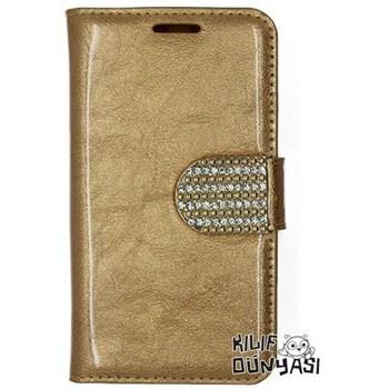 Samsung Galaxy S3 Kılıf Rugan Taşlı Deri Cüzdan Altın