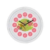 Cadran Dekoratif Vintage Duvar Saati Çatlak Desen Pembe Çiçekler Kuş 32757189