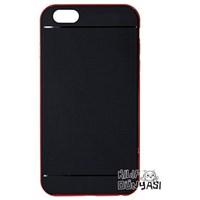 iPhone 6 Plus 5.5 Kılıf Silikon Renkli Çerveçeli Kırmızı