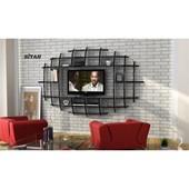 Sanal Mobilya Yeni Nesil Elips Tv Ünitesi & Kitaplık-Parlak Beyaz/Siyah 32073393