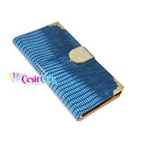 Sony Xperia Z1 Tokalı Taşlı Kılıf Mavi
