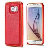 Microsonic Derili Metal Delüx Samsung Galaxy S6 Kılıf Kırmızı