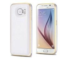 Microsonic Derili Metal Delüx Samsung Galaxy S6 Kılıf Beyaz - Beyaz