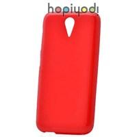 HTC Desire 620 Kılıf + Süper Silikon Arka Kapak Kırmızı