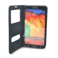 Samsung Galaxy Note 3 Kılıf Süet Deluxe Pencereli Siyah