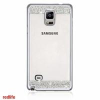 Redlife Galaxy Note 4 Orjınal Desen Bol Taşlı Pc Arka Kapak Gümüş
