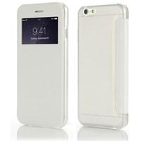 Microsonic View Cover Delux Kapaklı Iphone 6S Plus Kılıf Beyaz
