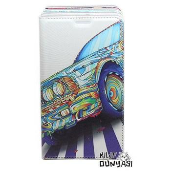 Samsung Galaxy Alpha Kılıf Renkli Araba Desenli Gizli Mıknatıslı