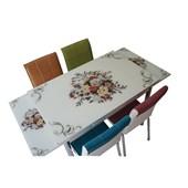 Mavi Mobilya Mutfak Cam Masa Takımı Yandan Açılır Çiçek Demeti Desen (4 Suni Deri Sandalyeli)