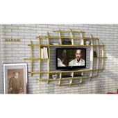 Sanal Mobilya Yeni Nesil Elips Tv Ünitesi & Kitaplık-Parlak Beyaz/Hardal 32067111