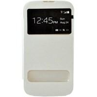Huawei Ascend G610 Kılıf Pencereli Flip Cover Beyaz