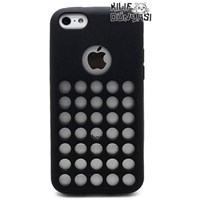 iPhone 5C Kılıf Delikli Silikon Arka Kapak Siyah