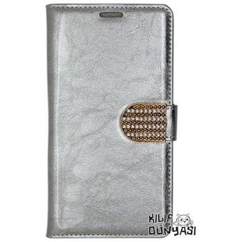 G. Mobile Discovery Elite Kılıf Rugan Deri Cüzdan Gümüş