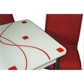 Mavi Mobilya Masa Ortadan Açılır Kırmızı Kare Desen