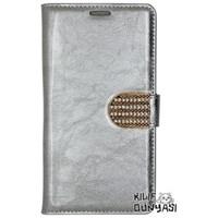 Samsung Galaxy Note 3 Neo Kılıf Rugan Deri Cüzdan Gümüş
