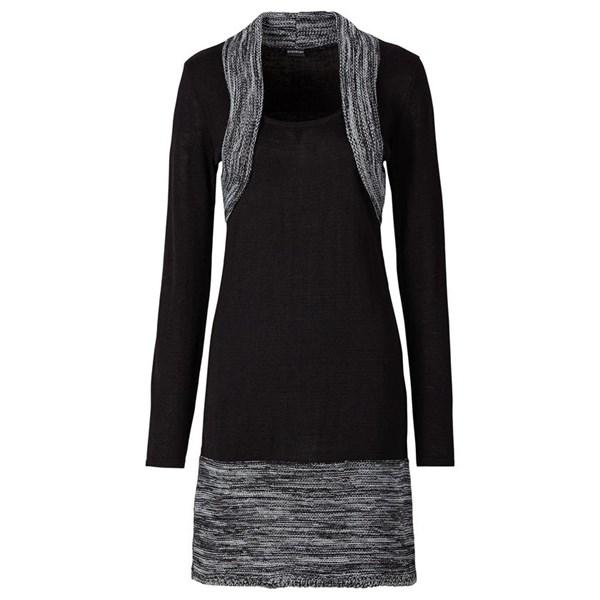 BODYFLIRT Örgü elbise - Siyah 22161456