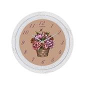 Cadran Dekoratif Vintage Çatlak Desen Duvar Saati Çiçek Sepeti 32762479